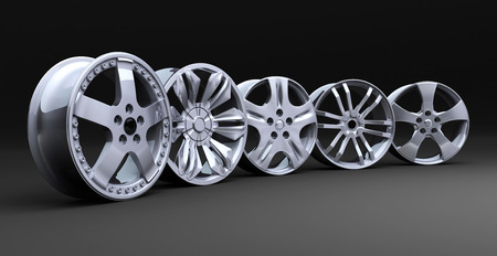 automobile workshop: Five car disc on a black background (done in 3d)