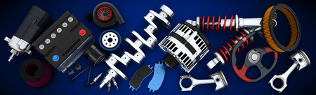 alternator: Many auto parts (done in 3d) Stock Photo