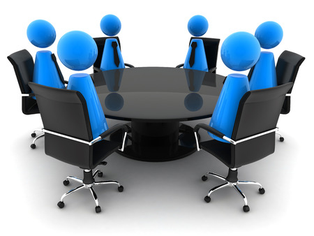 voted: Circle table and abstract men (done in 3d) Stock Photo