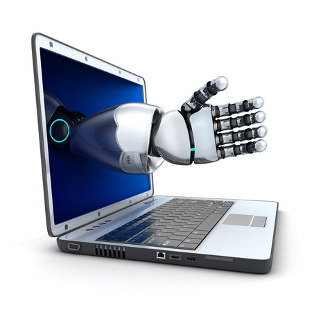 AI: Laptop and the robot arm (done in 3d)