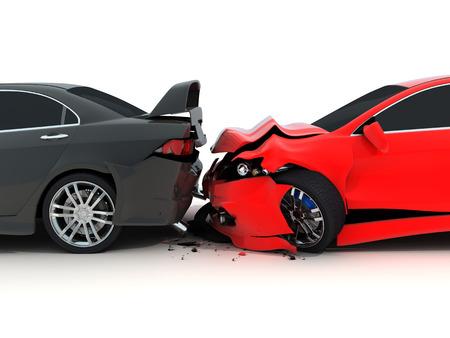 부주의 한: 흰색 배경에 자동차 충돌 (차원에서 수행)