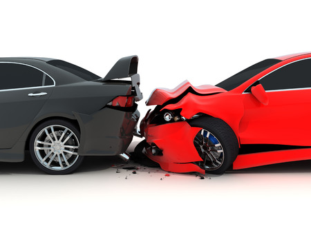 collision: Car crash on white background (done in 3d) Stock Photo