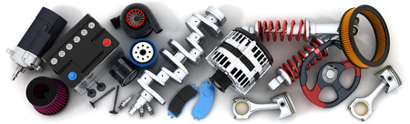 vehicle part: Many auto parts (done in 3d) Stock Photo