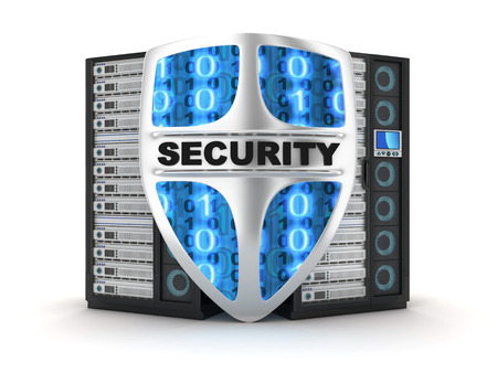 blue shield: Server security (done in 3d) Stock Photo