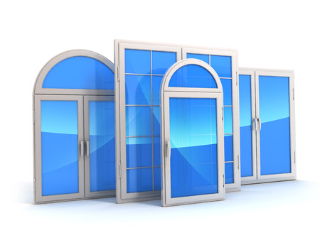 window with reflections of the sky (done in 3d)