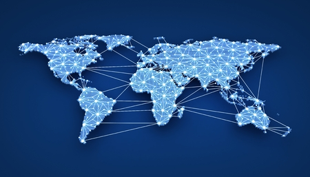 world communication: World-wide web on blue background