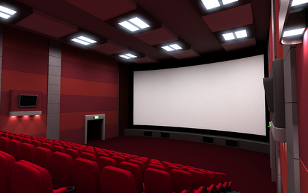 cinematograph: Empty Front view cinema seats Stock Photo