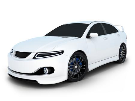 White electro car (done in 3d) Standard-Bild