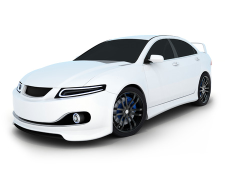 White electro auto (gedaan in 3d)