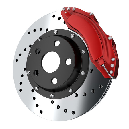 auto parts: Brake car red (done in 3d, isolated)