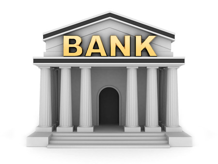 bank note: Building and sign bank (done in 3d) Stock Photo