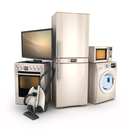 Consumer electronics.TV,Fridge,vacuum cleaner,microwave,washer and electric-cooker Stockfoto