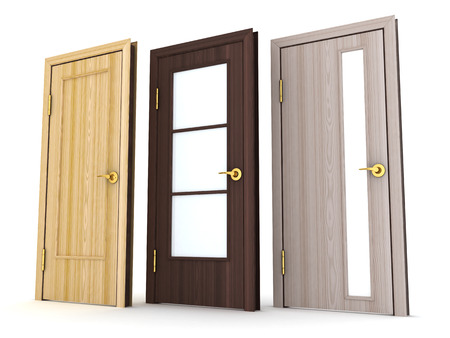 Three doors on white background (done in 3d) Standard-Bild