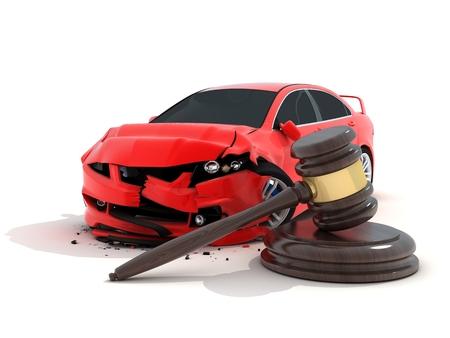 breakage: Accidente de coche en el fondo blanco y la ley (hecho en 3d)