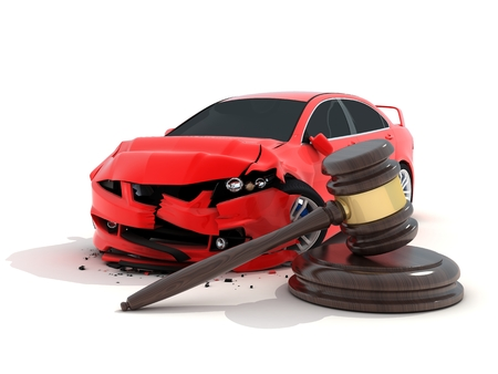 carelessness: Car crash on white background and law (done in 3d)