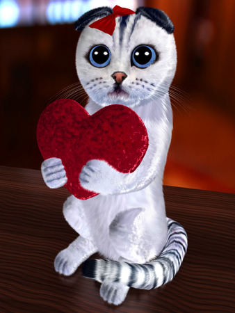 sorrowful: Cat and abstract heart (done in 3d)