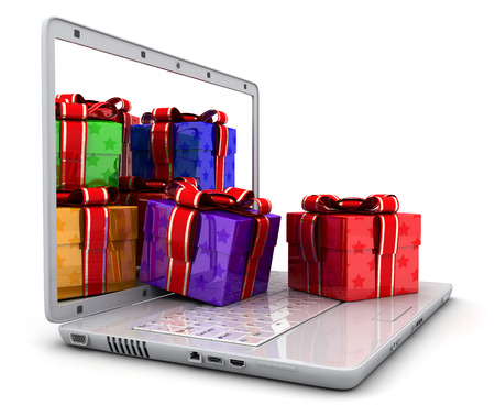 e shop: Laptop and many gifts  (done in 3d, isolated)