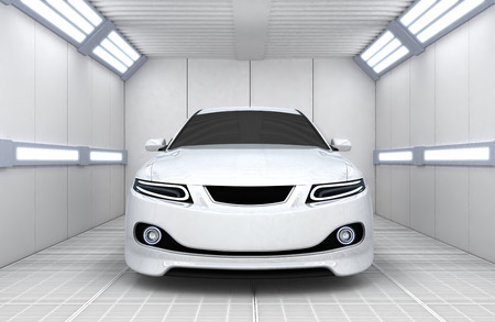 tuning: White car in garage (done in 3d) Stock Photo