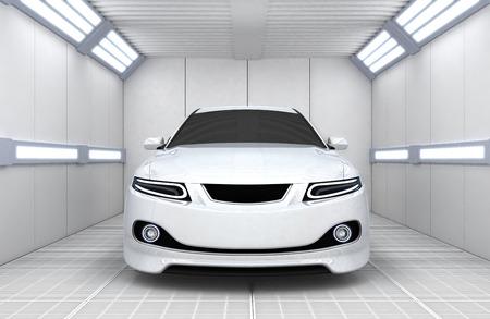 Witte auto in de garage (gedaan in 3d)