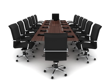 summation: Modern conference room on white background (done in 3d)