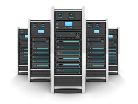 RESEAU: Cinq serveur haut de gamme, vue de face (fait en 3d) Banque d'images