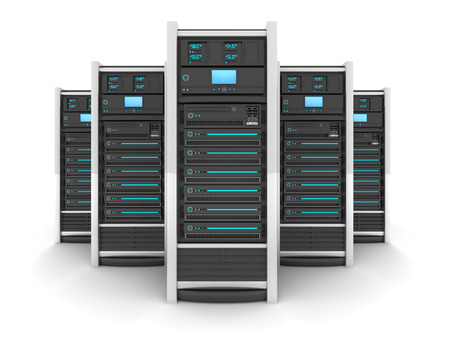firewall icon: Five Server high-end, view front (done in 3d) Stock Photo