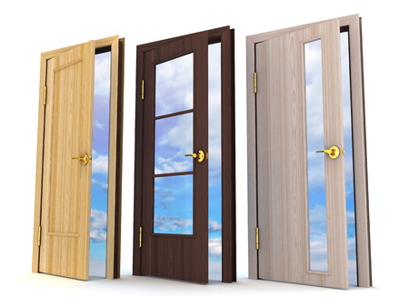redecoration: Three doors on white background (done in 3d) Stock Photo