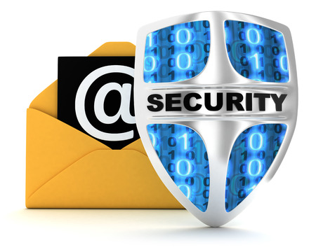 def: Email and shield on white background (done in 3d)