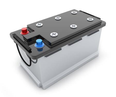 bateria: Camión de la batería grande en el fondo blanco (hecho en 3d)
