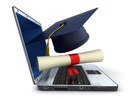 Laptop and trencher, diploma on white background (done in 3d)