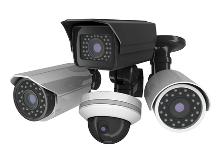 CCTV cameras on white background (done in 3d)