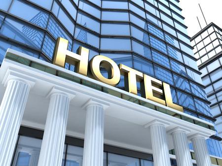 Rozlehlá budova s nápisem hotelu (v 3d)