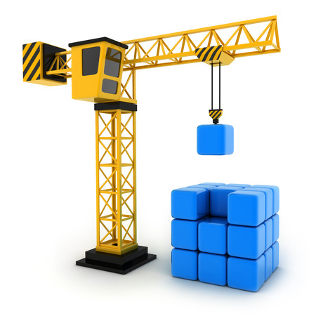 fragmentation: Tower crane and abstract cube (done in 3d) Stock Photo