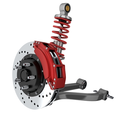 machine part: Car suspension and brake disk (done in 3d, isolated)