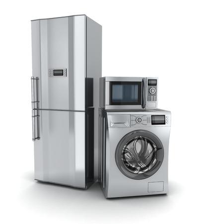 lavadora con ropa: Electronics.Fridge Consumidor, microondas y lavadora (hecho en 3d). Foto de archivo