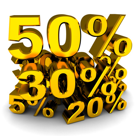 markdown: Sale, various percents (gold colour, done in 3d)