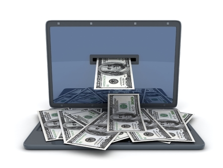 emoney: Laptop and money on white background (done in 3d)