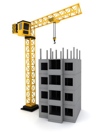 tower crane: Tower crane on white background(done in 3d)