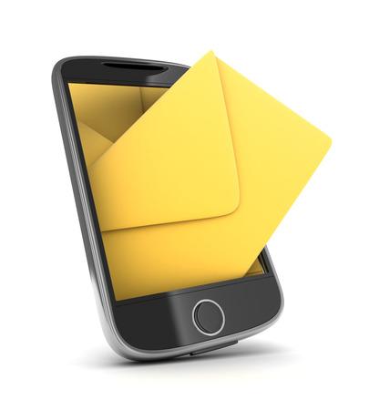 telegrama: PDA, SMS abstracta (hecho en 3d, aislada)