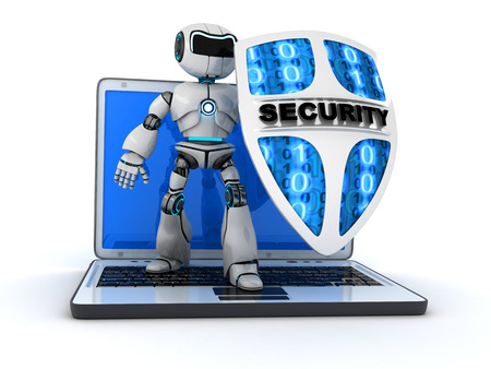 def: Abstract robot and shield (done in 3d) Stock Photo
