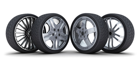 tire service: Four car wheel on a white background