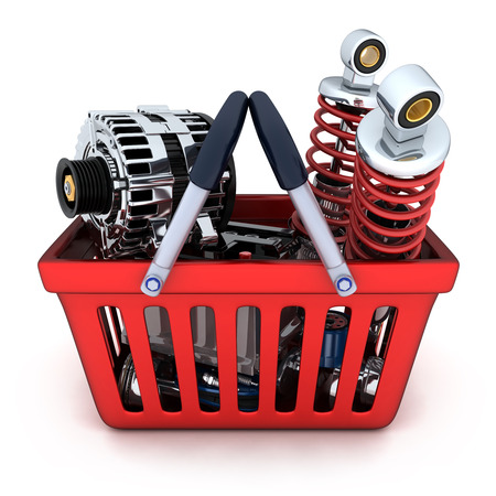 car part: Many auto parts in shop basket (done in 3d)
