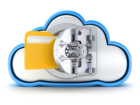 Cloud and bank door on white background (done in 3d)