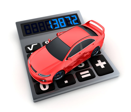 auto leasing: Calculator and small car (done in 3d)