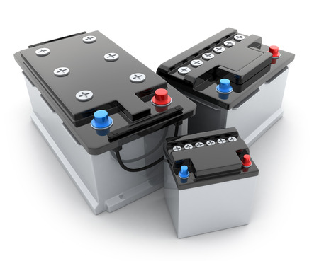 batteries: Three battery car on white background (done in 3d) Stock Photo