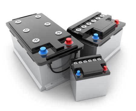 pila: Tres coches de la batería en el fondo blanco (hecho en 3d)