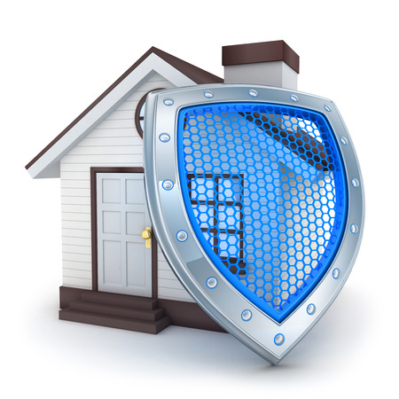 lock symbol: Abstract home and shield (done in 3d) Stock Photo