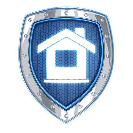 safe house: Abstract home and shield (done in 3d) Stock Photo