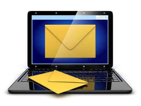 telegrama: Port�til y abstracto e-mail (hecho en 3d)