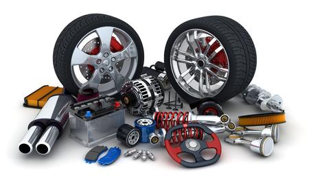 repuestos de carros: Muchas piezas de autom�viles en el fondo blanco (hecho en 3d)